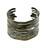 Birch Bark Cuff Bracelet - Alpaca (Oxidized)