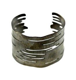 Birch Bark Cuff Bracelet - Alpaca (Oxidized)
