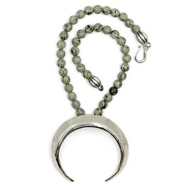 Boars Tusk Pendant Necklace - Alpaca (Small) - Shiny