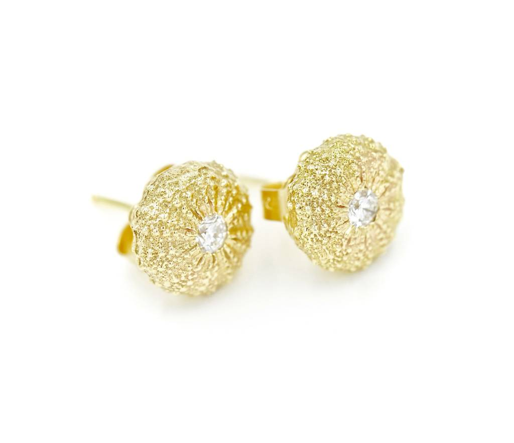 Sea Urchin Earrings - Vermeil - Small (CZ)
