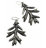 Oak Leaf Earrings - Alpaca (Oxidized)