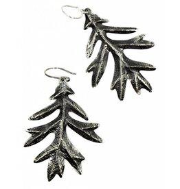 Oak Leaf Earrings - Alpaca (Oxidized)