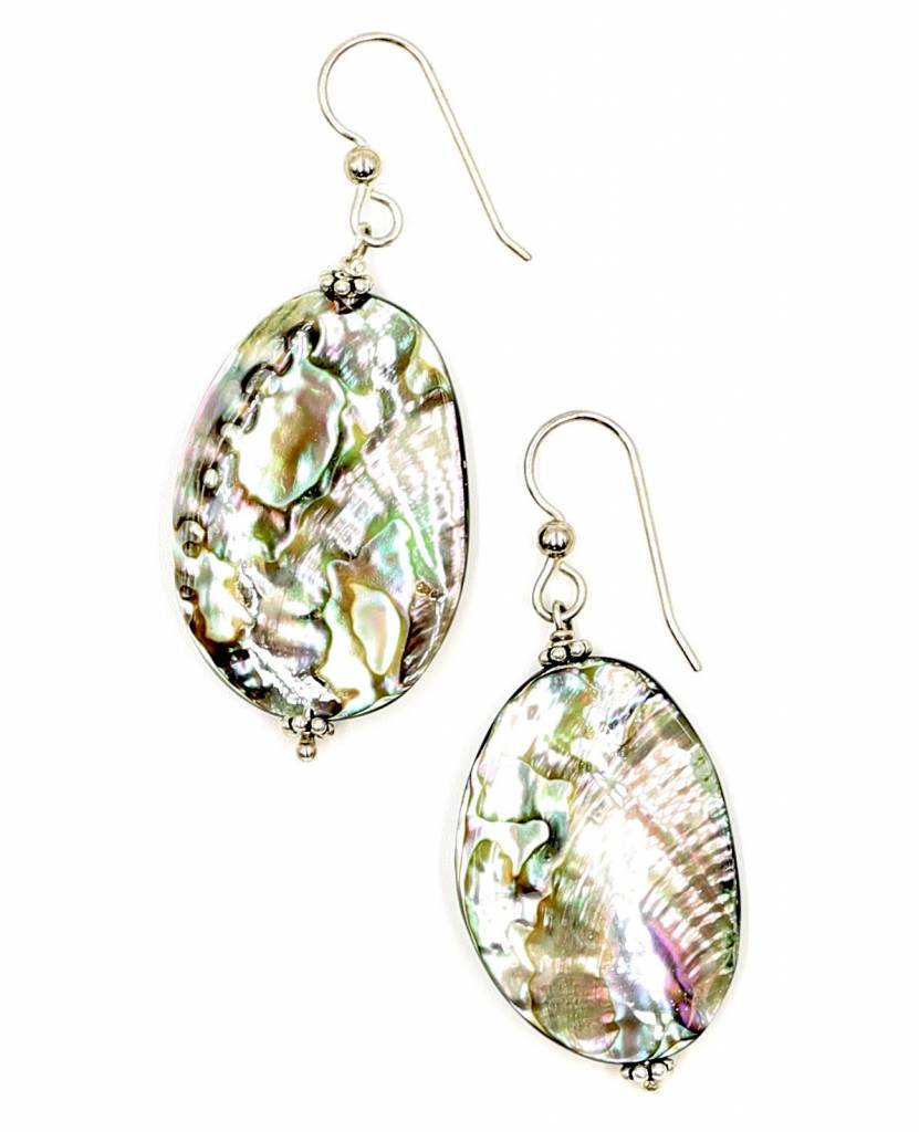 Abalone Drop Earrings - Sterling Silver (Small) - Post/Wire