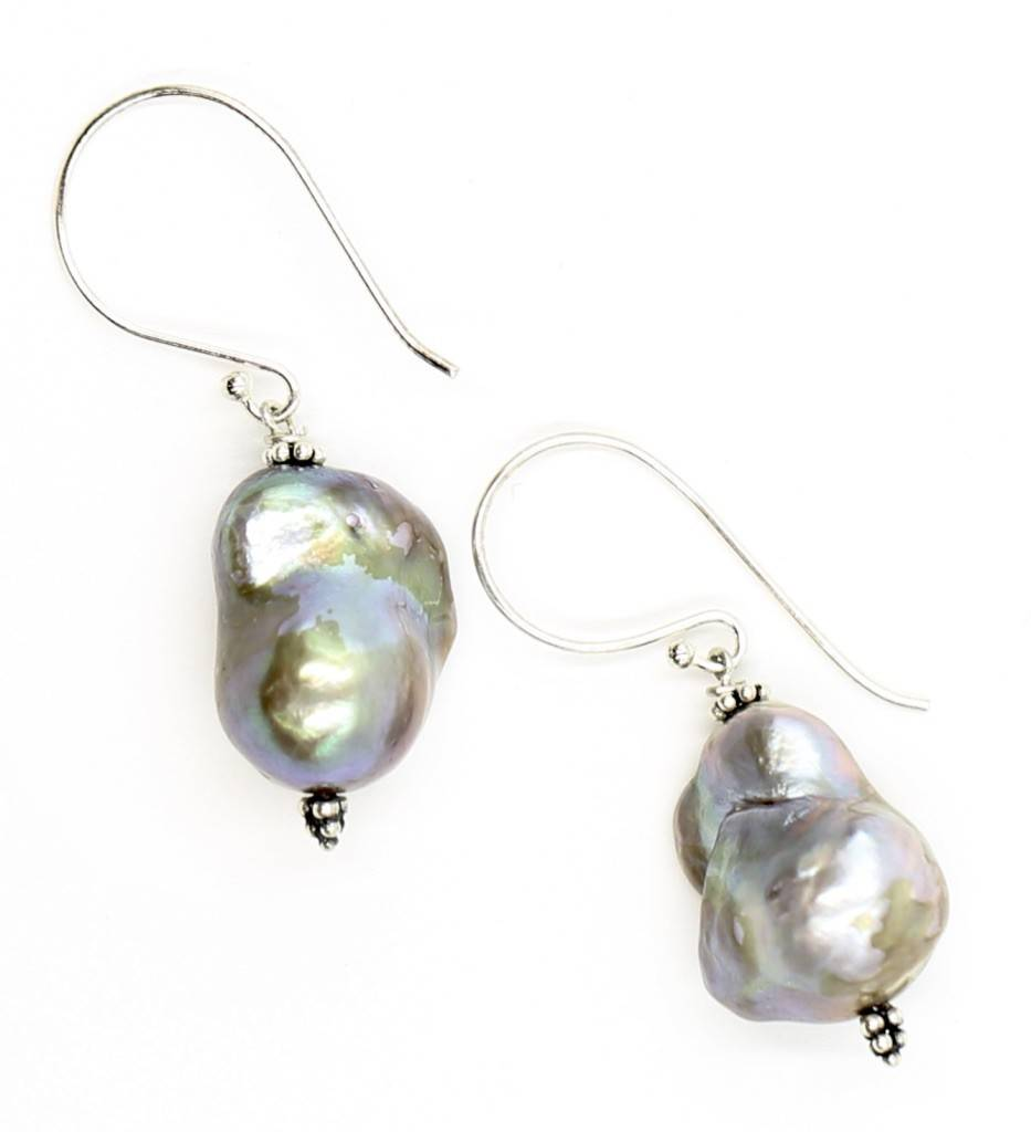 Baroque Pearl Drop Earrings - Sterling Silver (Wire)