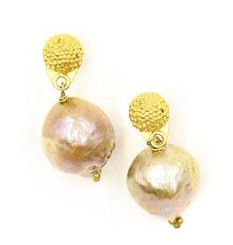 Baroque Pearl Drop Earrings - Vermeil (Post)