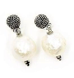 Baroque Pearl Drop Earrings - Sterling Silver (Post)