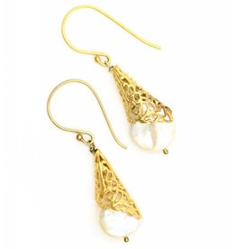 Coin Pearl Earrings - Vermeil