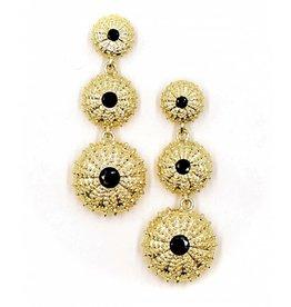 Sea Urchin Earrings - Vermeil - Triple (Black Onyx)