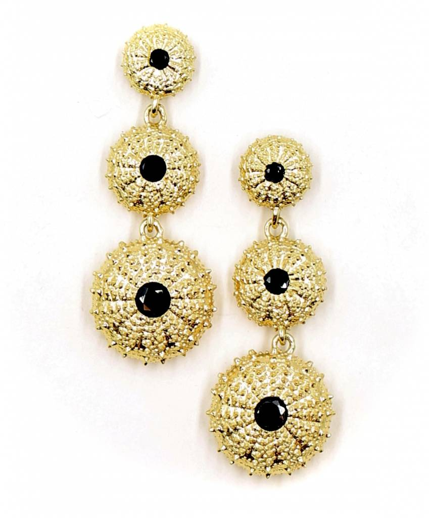 Sea Urchin Earrings - Vermeil - Triple (Black Onyx)