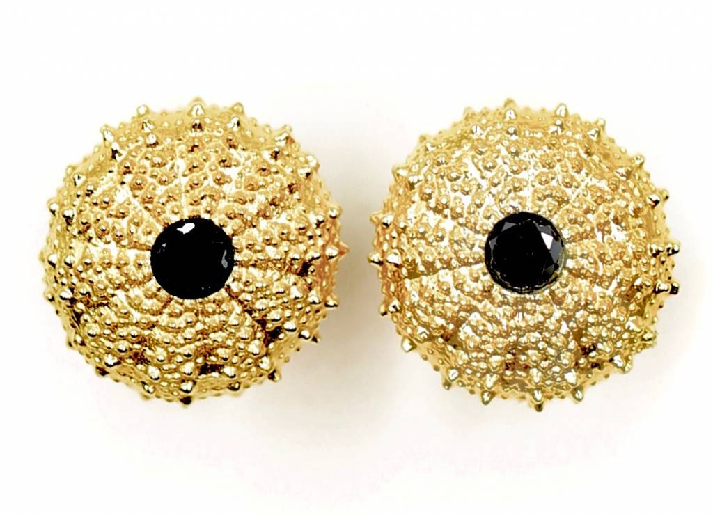Sea Urchin Earrings - Vermeil - Large (Black Onyx)