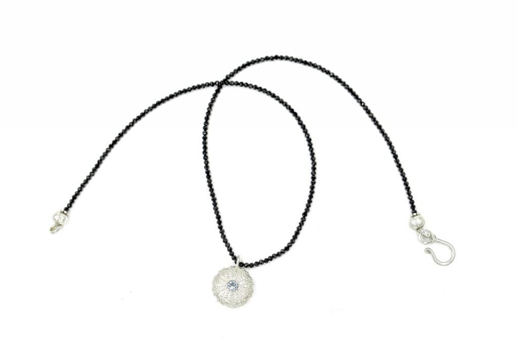 Sea Urchin Pendant Necklace - Single - Sterling Silver (Sky Blue Topaz)