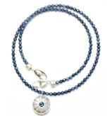 Single Sea Urchin Pendant Necklace - Sterling Silver (London Blue Topaz)
