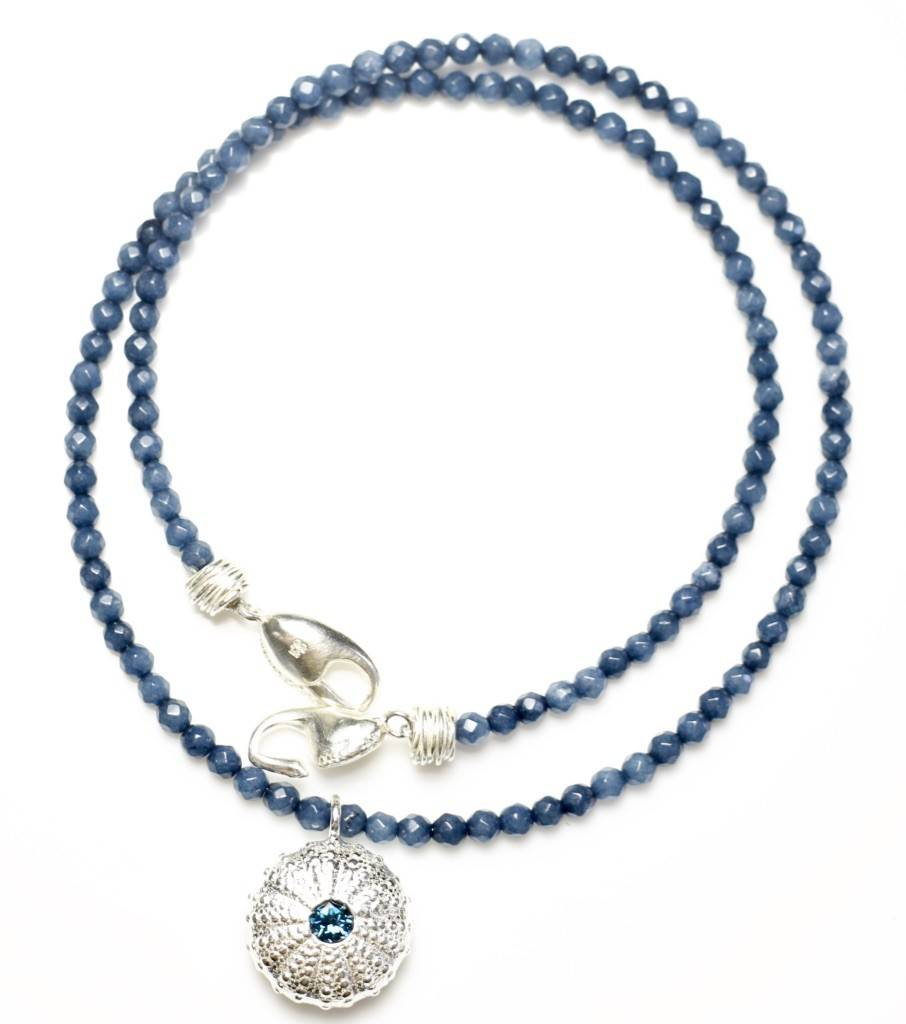 Sea Urchin Pendant Necklace - Single - Sterling Silver (London Blue Topaz)