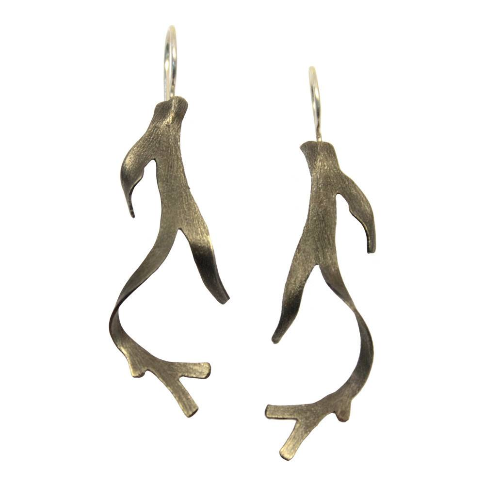 Sea Algae Earrings - Alpaca (Oxidized)