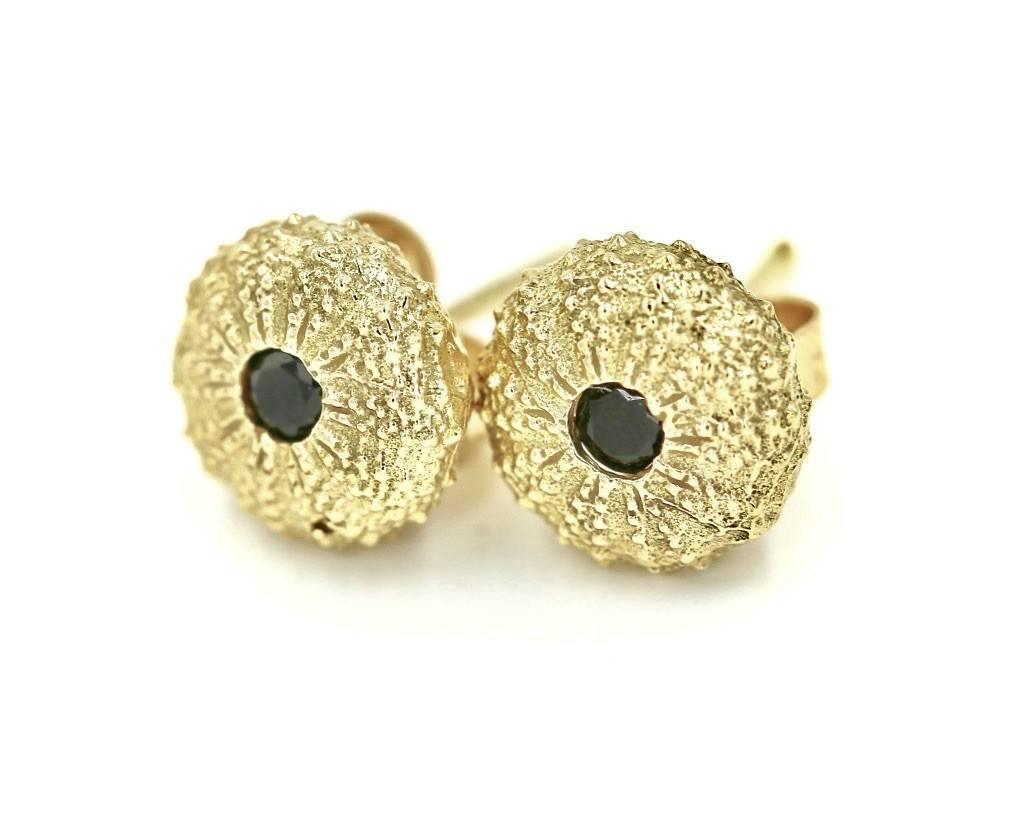 Sea Urchin Earrings - 14K Gold - Small (Black Diamond)