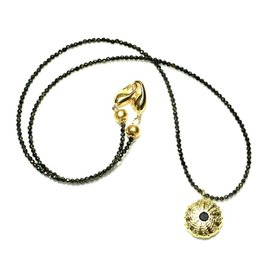 Sea Urchin Pendant Necklace - Single - Vermeil (Black Onyx)
