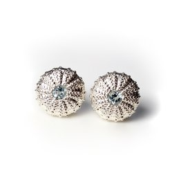 Sea Urchin Earrings - Sterling Silver - Large (Sky Blue Topaz)