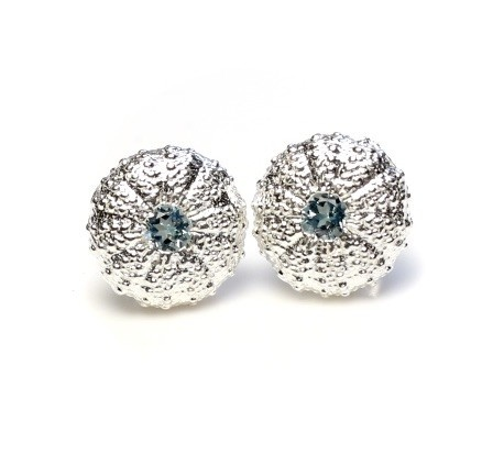 Sea Urchin Earrings -  Sterling Silver - Medium (Sky Blue Topaz)
