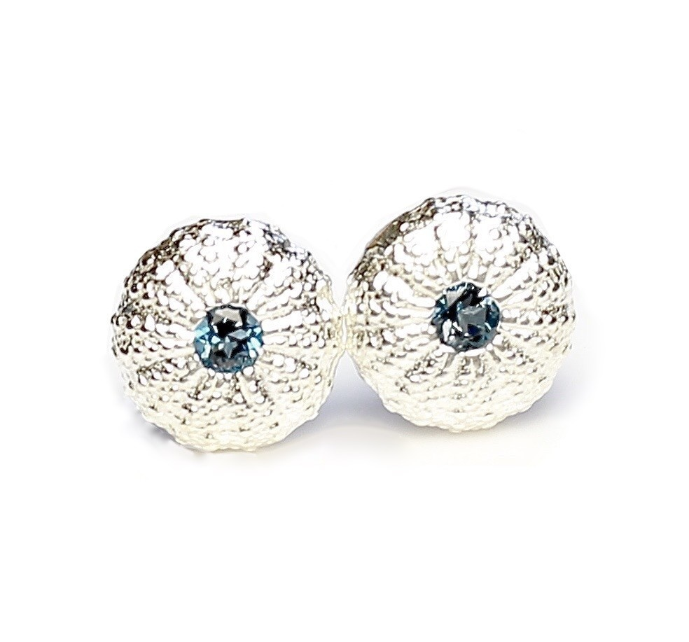 Sea Urchin Earrings - Sterling Silver - Small (London Blue Topaz)