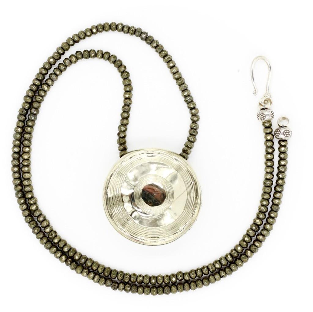 Shark Vertebrea Pendant Necklace - Alpaca - Shiny (Opera Length)