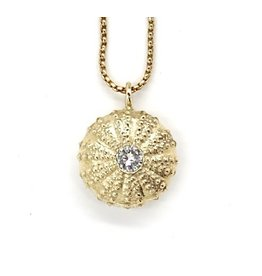Sea Urchin Pendant - 14K Gold - Single (1/2K Diamond)
