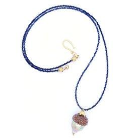 Baroque Pearl Acorn Pendant Necklace - Silver/Vermeil