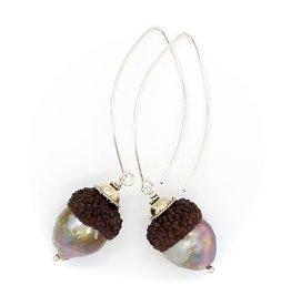 Baroque Pearl Acorn Earrings - Sterling Silver