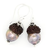 Baroque Pearl Acorn Earrings - Sterling Silver