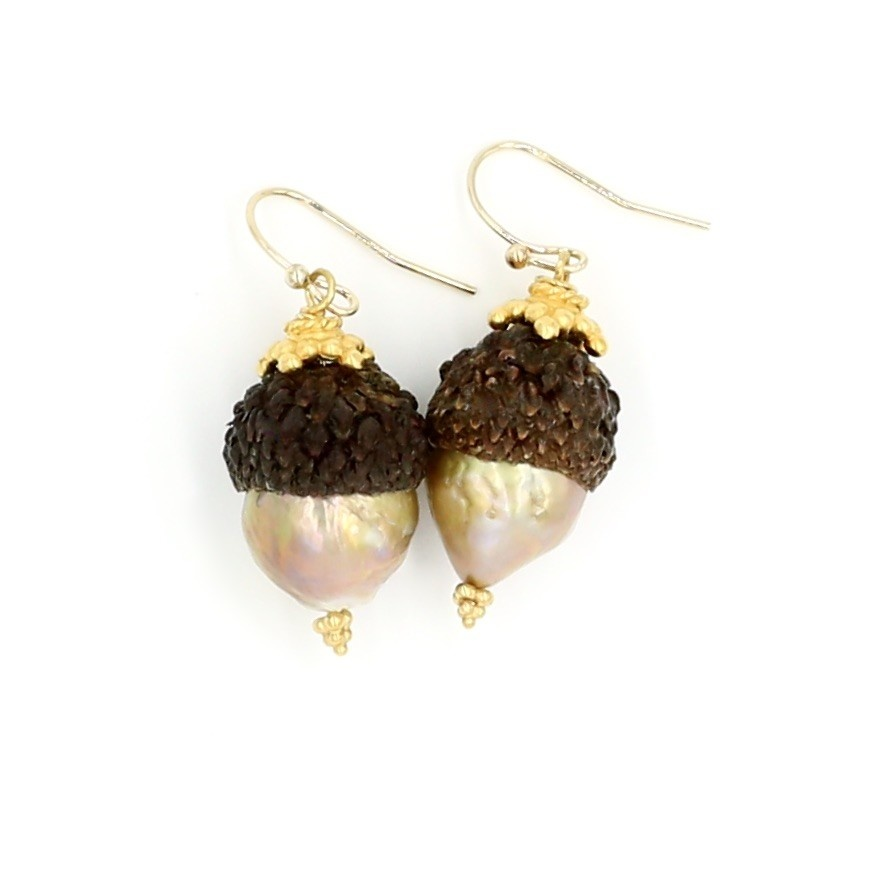 Baroque Pearl Acorn Earrings - Vermeil