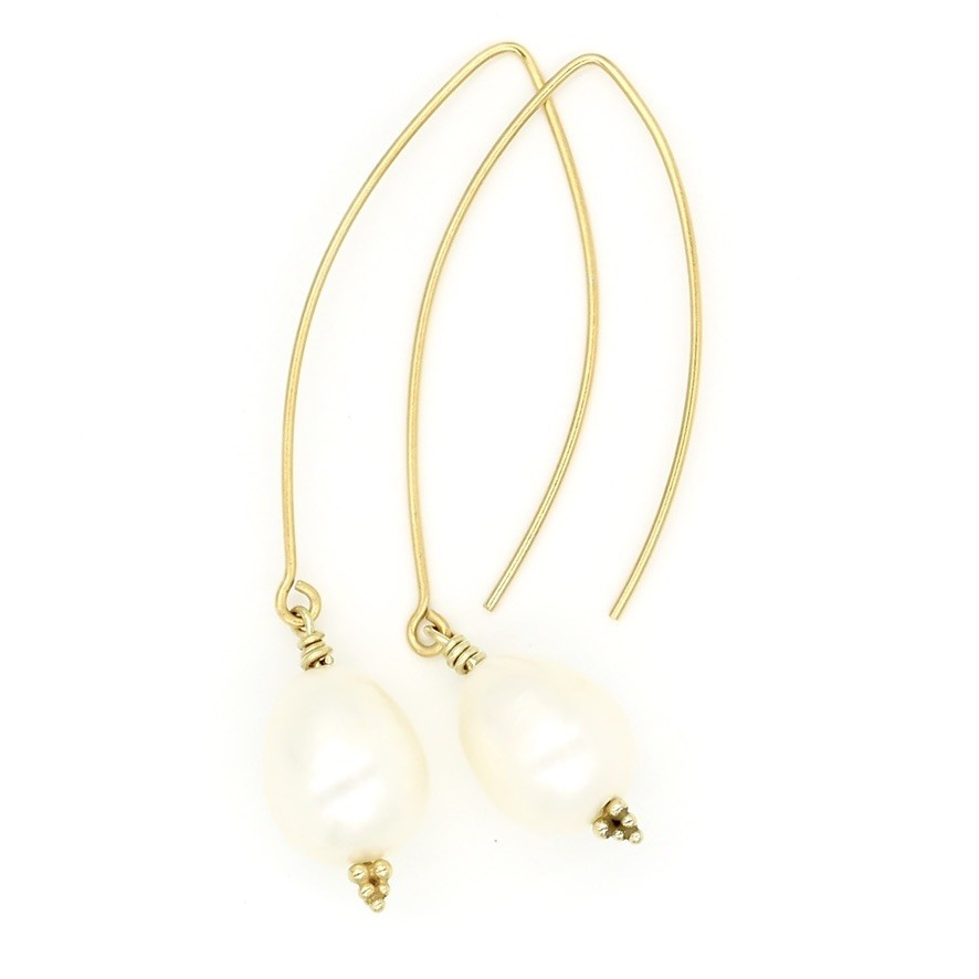 Baroque Pearl Drop Earrings - Vermeil (Wire)