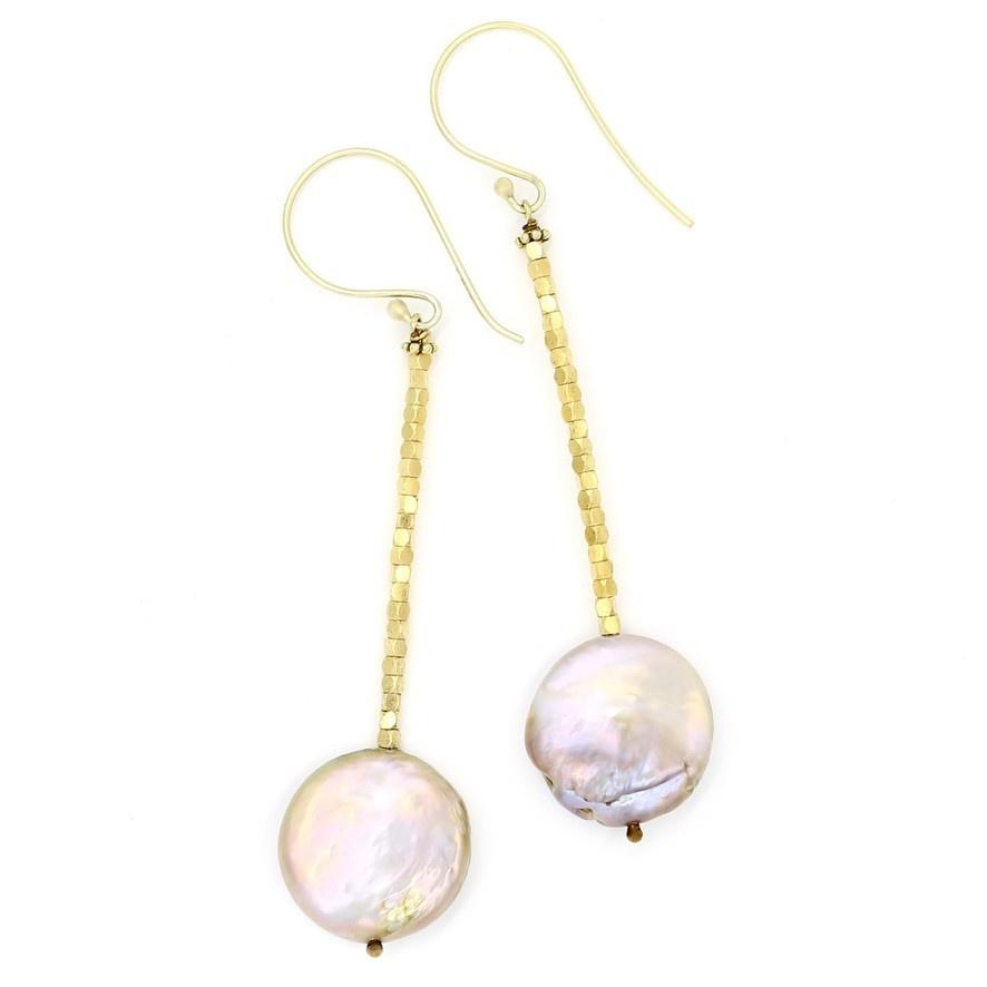 Baroque Pearl Beaded Drop Earrings - Vermeil (Post/Wire)