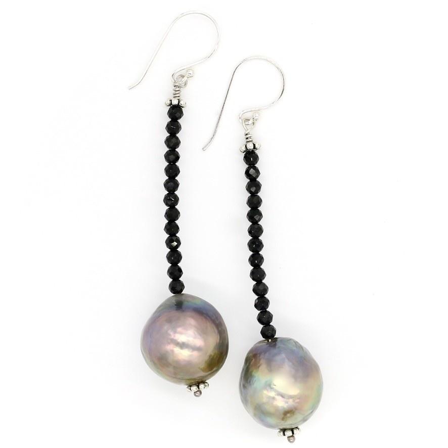 Baroque Pearl Beaded Drop  Earrings - Sterling Silver (Wire/Post)
