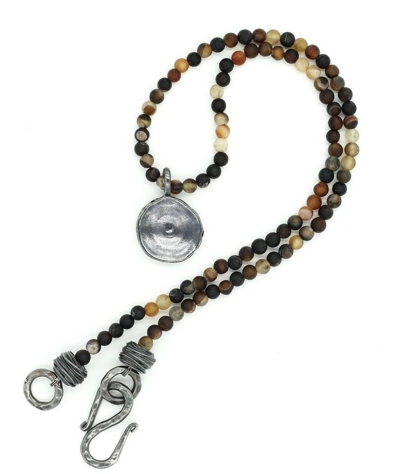 Shark Vertebrae Pendant Necklace - Sterling Silver (Large) - Oxidized
