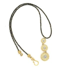 Sea Urchin Pendant Necklace - Triple - Vermeil (CZ)