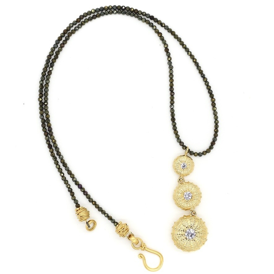 Sea Urchin Pendant Necklace - Triple - Vermeil (CZ)