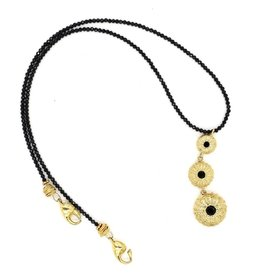 Sea Urchin Pendant Necklace - Triple  - Vermeil (Black Onyx)