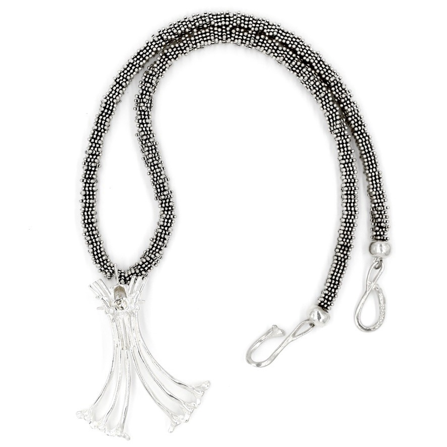 Gogo Logo Necklace - Sterling Silver (Sterling Silver Bali Beads)