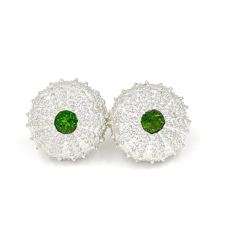 Sea Urchin Earrings - Sterling Silver - Large (chrome diopside))