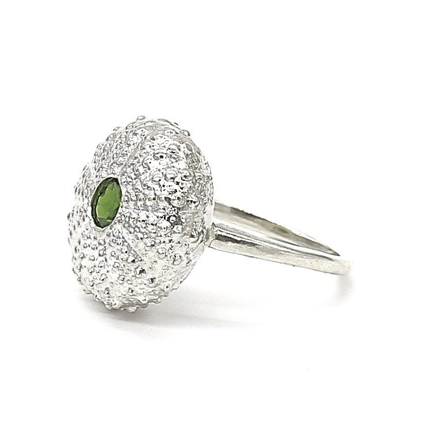 Sea Urchin Ring - Sterling Silver (chrome diopside)