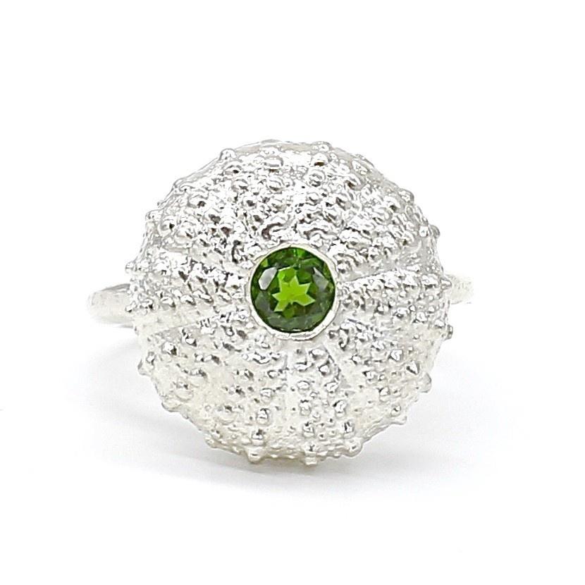 Sea Urchin Ring - Sterling Silver (Green Quartz)