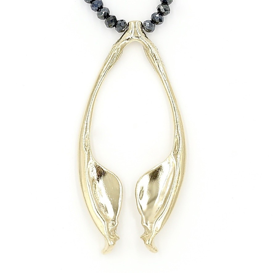 Rattlesnake Jawbone Pendant Necklace - 14K Gold