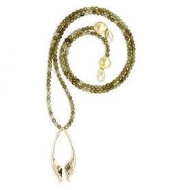 Rattlesnake Jawbone Pendant Necklace - 14K Gold (Opera)