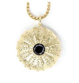 Sea Urchin Pendant - 14K Gold - Single (Black Diamond)