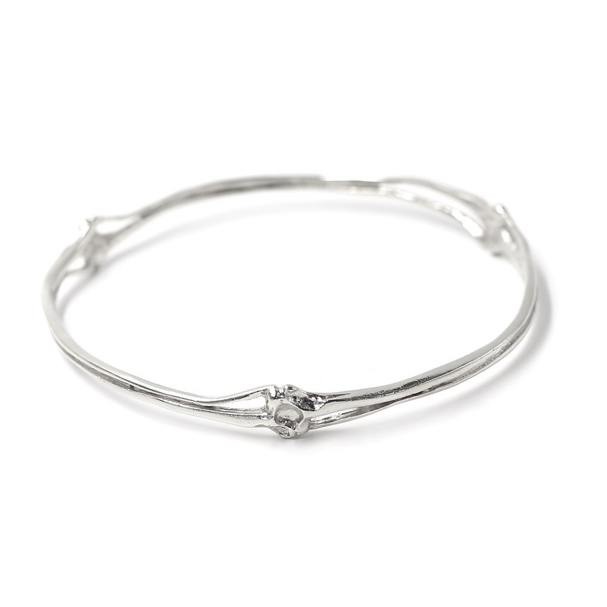 Rattlesnake Rib Bangle - Sterling Silver (Large)