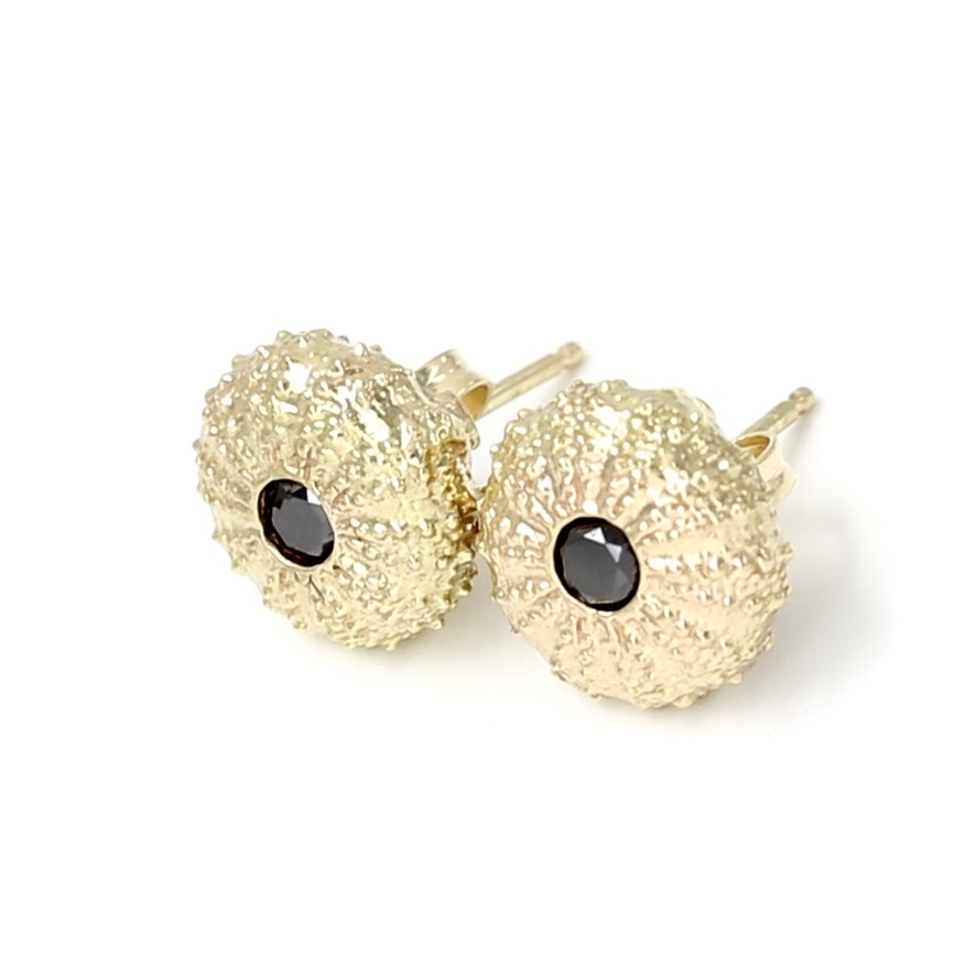 Sea Urchin Earrings - 14K Gold - Small (Black Diamond)