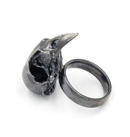 Bird Skull Ring - Sterling Silver (Oxidized) Small