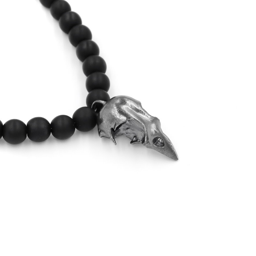 Bird Skull Pendant Necklace - Sterling Silver (Oxidized)