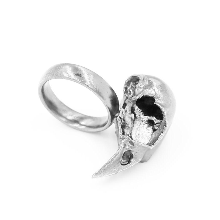 Bird Skull Ring - Sterling Silver