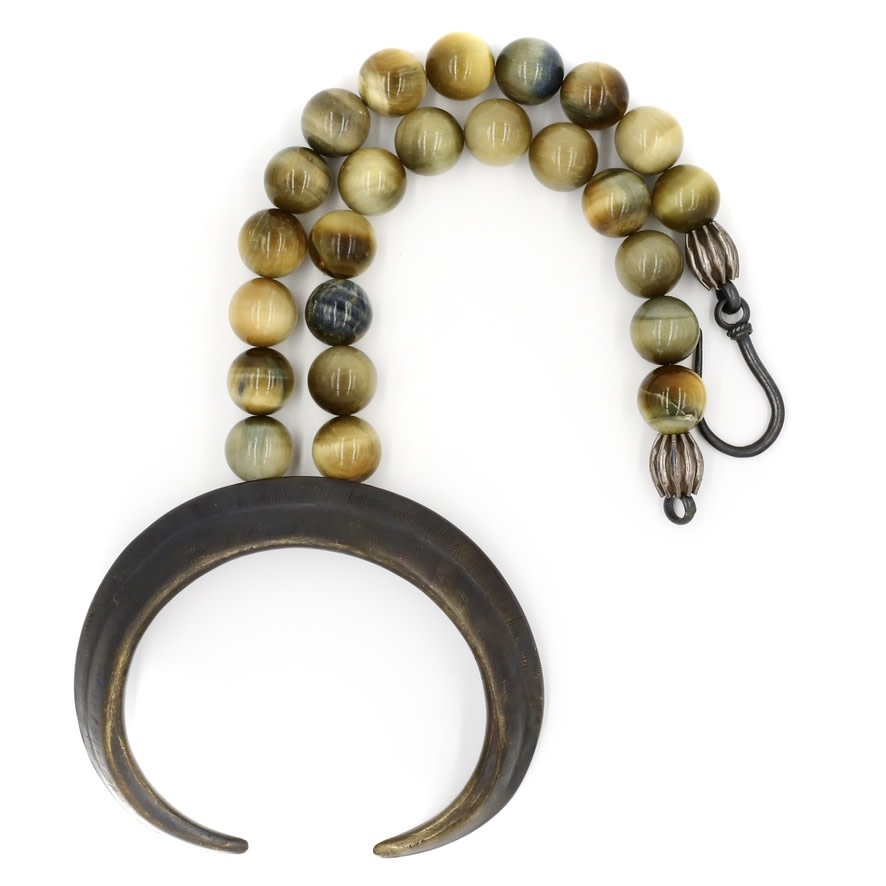 Boars Tusk Pendant Necklace - Alpaca (Large) - Oxidized