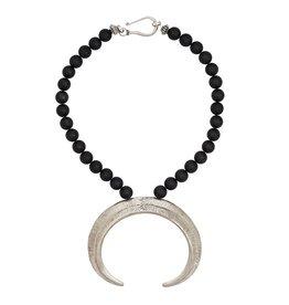 Boars Tusk Pendant Necklace - Alpaca (Large) - Shiny